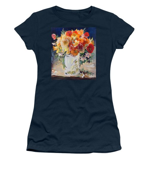 Women's T-Shirt featuring the painting Poppies, Clematis, And Daffodils In Porcelain Vase. by Ryn Shell