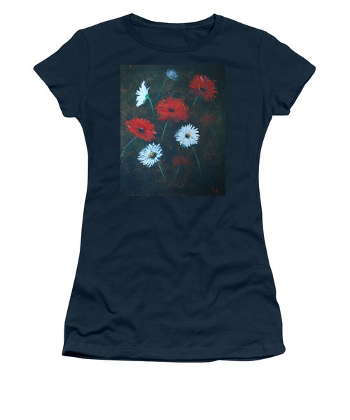 Women's T-Shirt (Junior Cut) featuring the painting Poppin Daisies by Leslie Allen