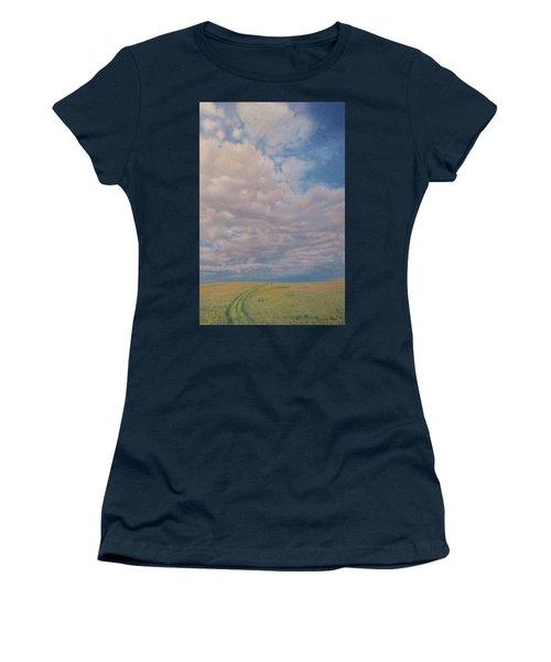 Women's T-Shirt featuring the pastel Prairie Trail by Cris Fulton