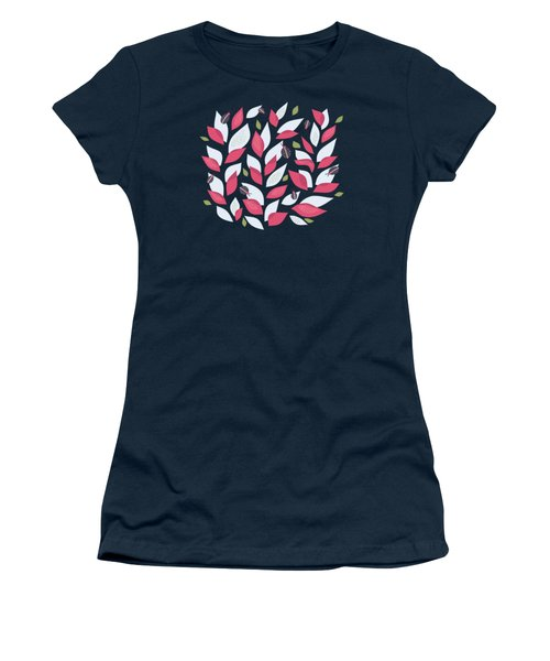 Pretty Plant With White Pink Leaves And Ladybugs Women's T-Shirt (Athletic Fit)