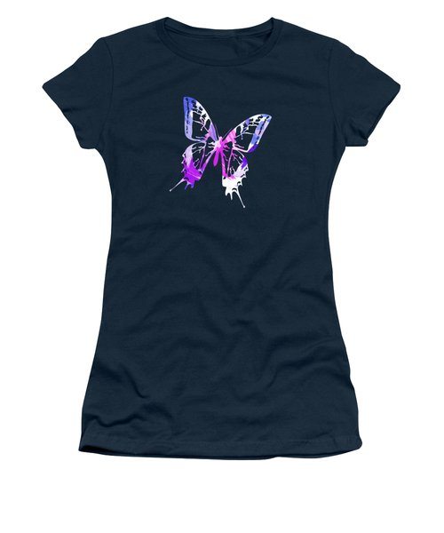 Purple Abstract Paint Pattern Women's T-Shirt