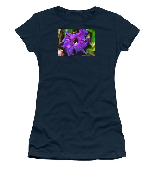 Women's T-Shirt (Junior Cut) featuring the painting Purple Color Of Royalty by Dragica  Micki Fortuna