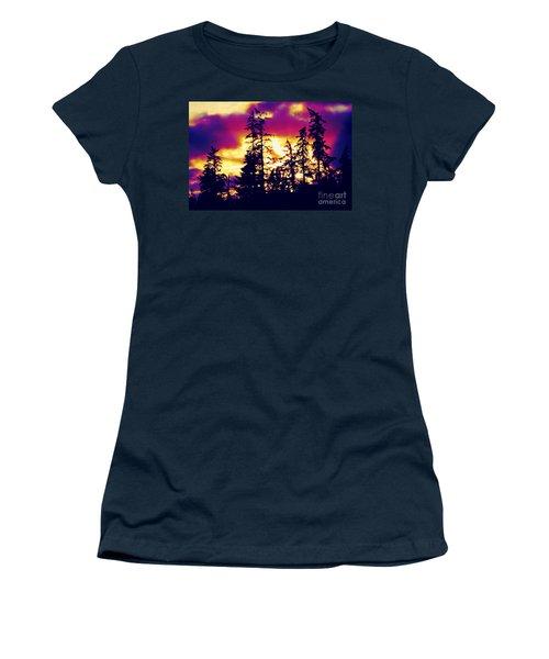 Women's T-Shirt (Junior Cut) featuring the photograph Purple Haze Forest by Nick Gustafson