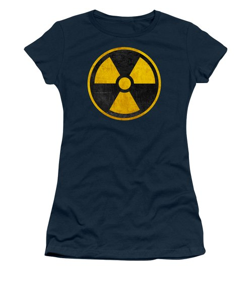 Vintage Distressed Nuclear War Fallout Shelter Sign Women's T-Shirt (Junior Cut) by Peter Gumaer Ogden Collection