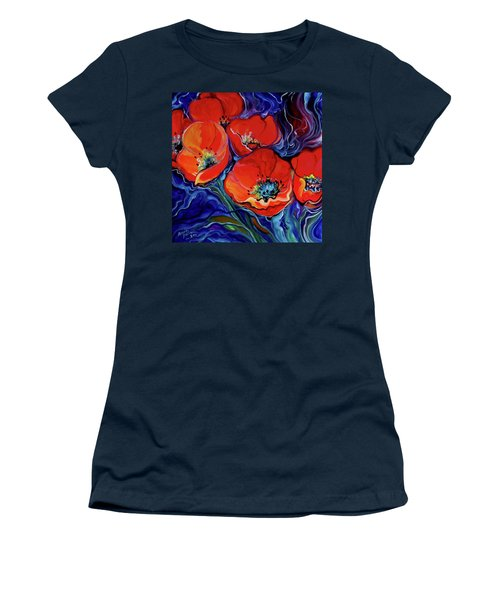 Red Floral Abstract Women's T-Shirt