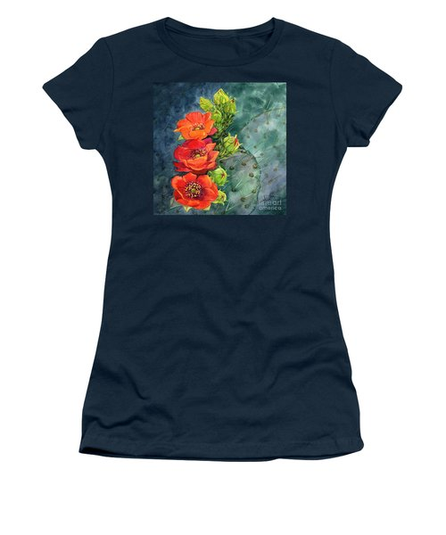 Red Flowering Prickly Pear Cactus Women's T-Shirt