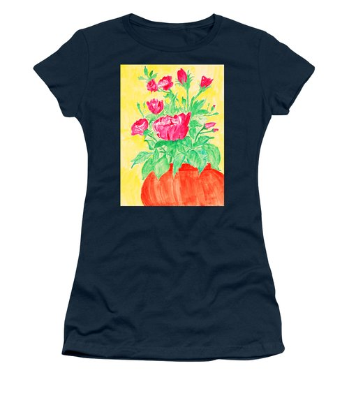 Red Flowers In A Brown Vase Women's T-Shirt
