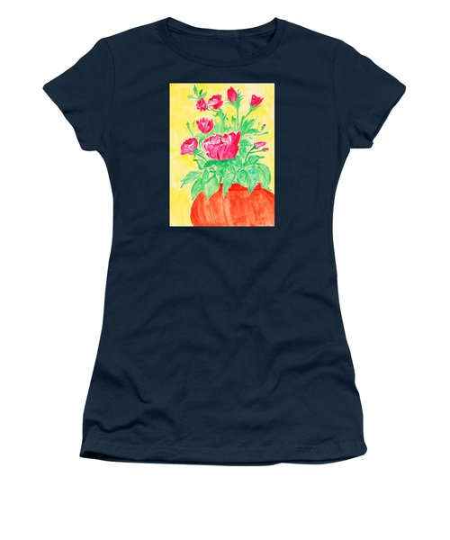 Red Flowers In A Brown Vase Women's T-Shirt (Athletic Fit)