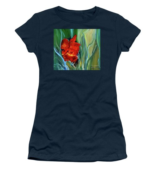 Red Jungle Orchid Women's T-Shirt (Athletic Fit)