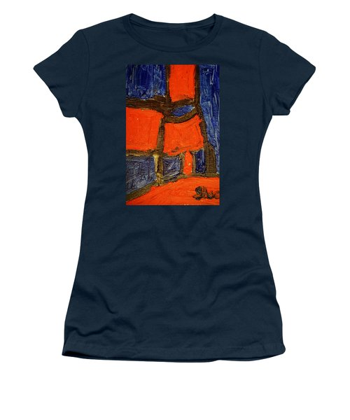 Women's T-Shirt (Junior Cut) featuring the painting Red Lamps by Shea Holliman
