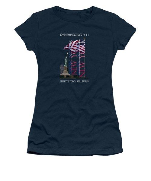Remembering 9/11 Liberty's Flame Still Burns - T-shirt Women's T-Shirt (Junior Cut) by Robert J Sadler