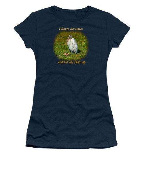 Resting Woodstork Women's T-Shirt (Junior Cut) by John M Bailey