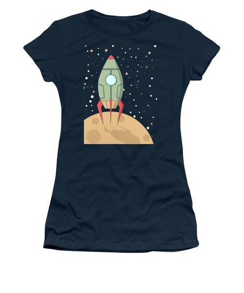 Retro Spaceship Women's T-Shirt (Junior Cut) by Krokoneil
