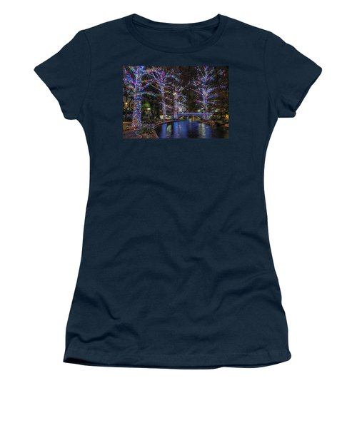 Women's T-Shirt (Athletic Fit) featuring the photograph Riverwalk Christmas by Steven Sparks