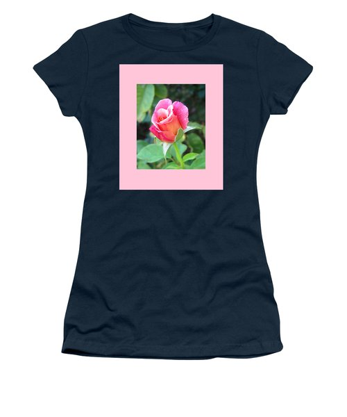 Rosebud With Border Women's T-Shirt (Junior Cut) by Mary Ellen Frazee