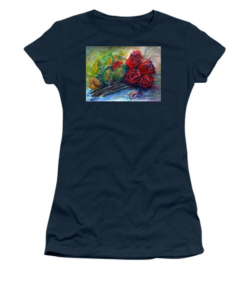 Women's T-Shirt (Junior Cut) featuring the painting Roses by Jasna Dragun