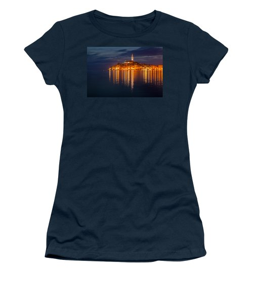 Women's T-Shirt (Junior Cut) featuring the photograph Rovinj By Night by Davorin Mance
