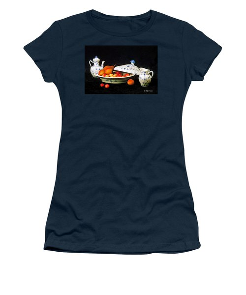 Women's T-Shirt (Athletic Fit) featuring the photograph Royal Copenhagen And Fruits by Elf Evans