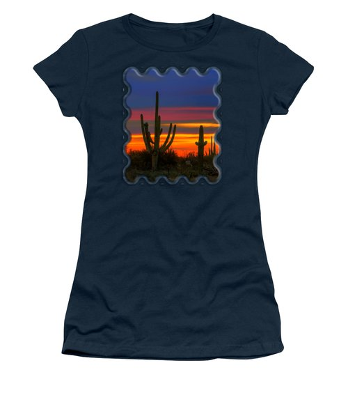 Saguaro Sunset V30 Women's T-Shirt (Junior Cut) by Mark Myhaver