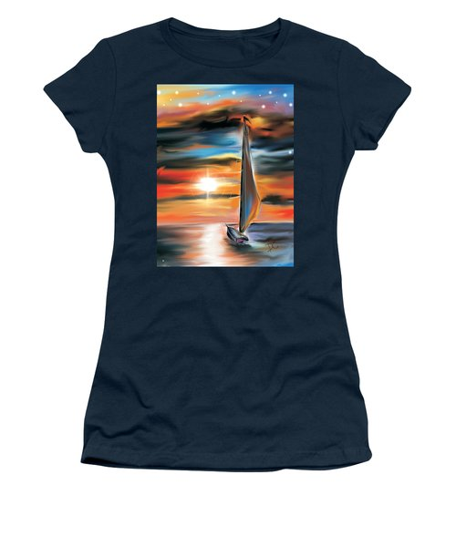 Sailboat And Sunset Women's T-Shirt