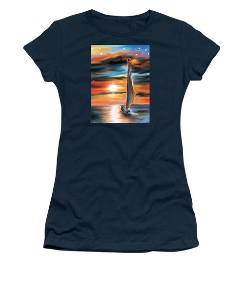 Women's T-Shirt (Athletic Fit) featuring the digital art Sailboat And Sunset by Darren Cannell