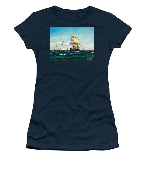Women's T-Shirt (Junior Cut) featuring the painting Sailing Ships At Sea by Pg Reproductions