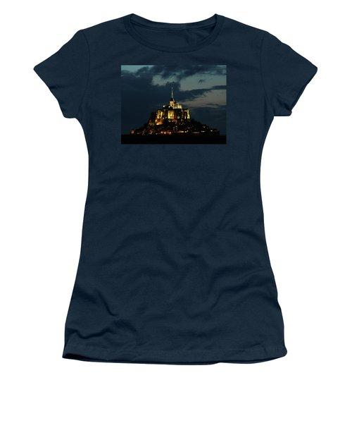Women's T-Shirt (Junior Cut) featuring the photograph Saint Michel Mount After The Sunset, France by Yoel Koskas