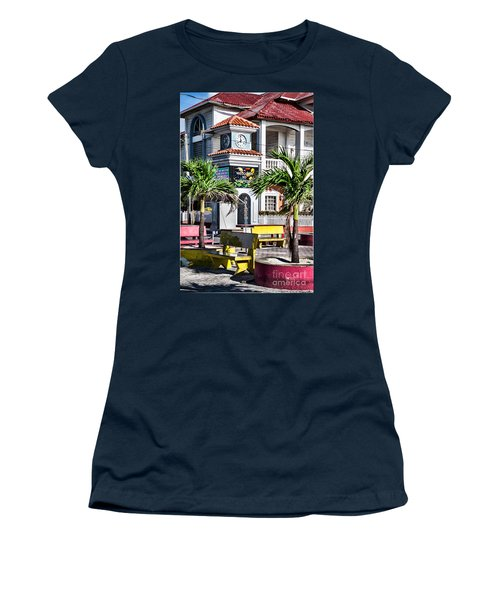 San Pedro Town Plaza Women's T-Shirt (Junior Cut) by Lawrence Burry