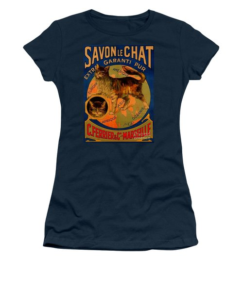 Savon Le Chat Antique French Poster Women's T-Shirt (Athletic Fit)
