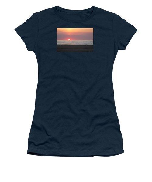 Women's T-Shirt (Junior Cut) featuring the photograph Seagull Watching Sunrise by Robert Banach