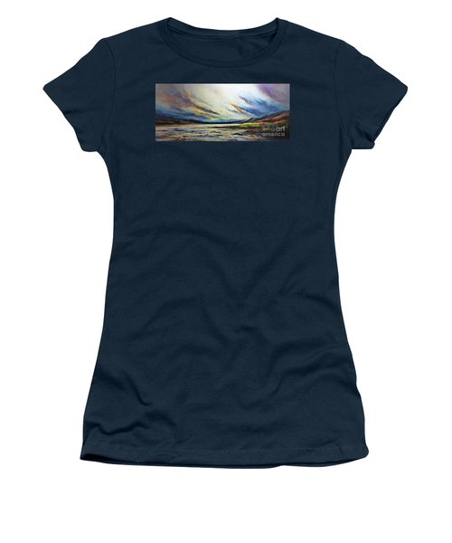 Women's T-Shirt (Junior Cut) featuring the painting Seaside by AmaS Art