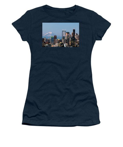 Women's T-Shirt (Junior Cut) featuring the photograph Seattle At First Light I by E Faithe Lester