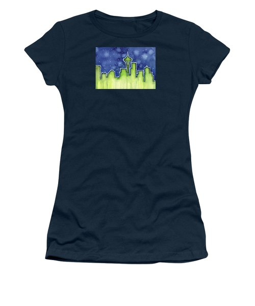 Seattle Night Sky Watercolor Women's T-Shirt (Junior Cut) by Olga Shvartsur