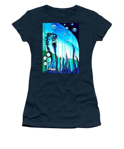 Women's T-Shirt (Junior Cut) featuring the painting Seaweed - Art By Dora Hathazi Mendes by Dora Hathazi Mendes