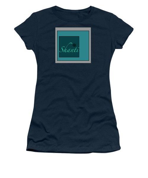 Women's T-Shirt (Junior Cut) featuring the digital art Shanti In Blue by Kandy Hurley