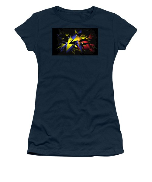 Women's T-Shirt featuring the digital art Shattering World by Ludwig Keck