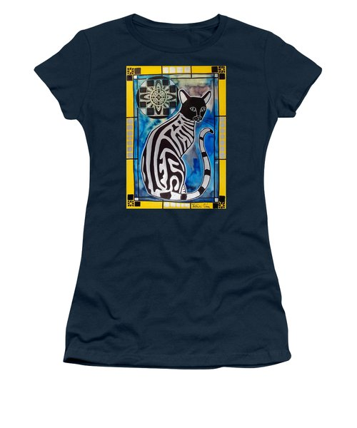 Women's T-Shirt (Junior Cut) featuring the painting Silver Tabby With Mandala - Cat Art By Dora Hathazi Mendes by Dora Hathazi Mendes