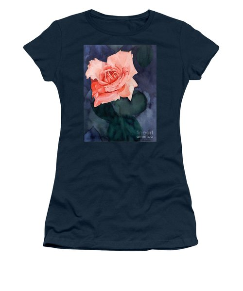Watercolor Of A Magic Bright Single Red Rose Women's T-Shirt