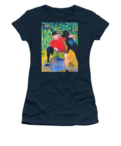Women's T-Shirt (Junior Cut) featuring the painting One Team Two Heroes-4 by Donald J Ryker III