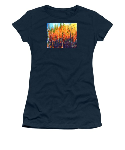 Women's T-Shirt (Junior Cut) featuring the painting Sizzlescape by Holly Carmichael
