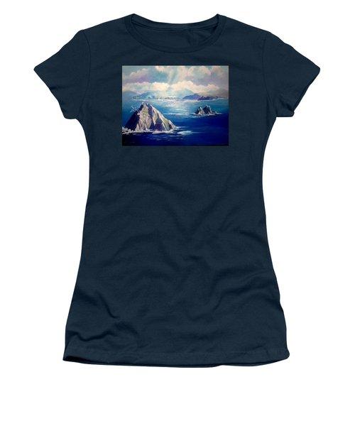 Skelligs Ireland Women's T-Shirt (Junior Cut) by Paul Weerasekera