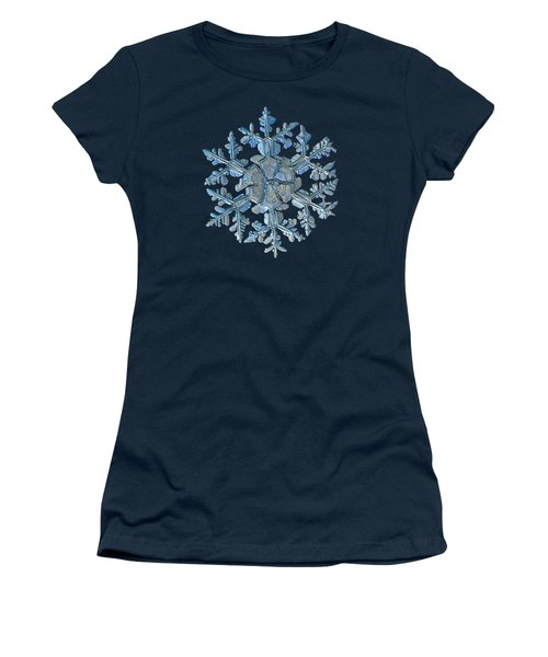 Women's T-Shirt featuring the photograph Snowflake Photo - Gardener's Dream by Alexey Kljatov