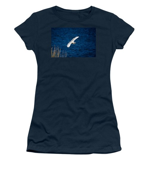 Soaring Snowy Egret  Women's T-Shirt (Junior Cut) by DigiArt Diaries by Vicky B Fuller