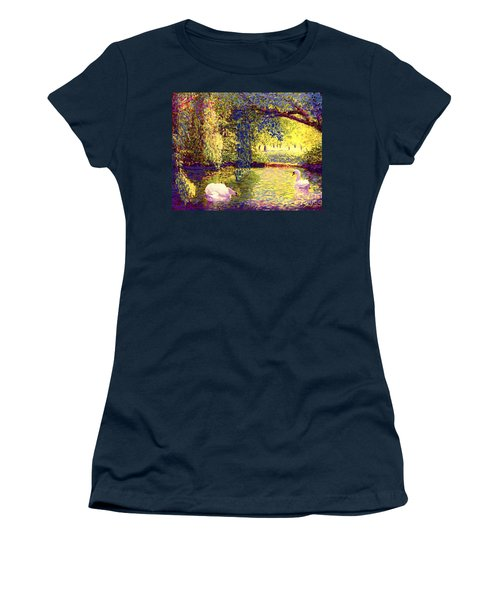 Women's T-Shirt (Junior Cut) featuring the painting Swans, Soul Mates by Jane Small