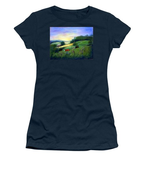 Women's T-Shirt (Junior Cut) featuring the painting Southern Ohio Farm by Gail Kirtz