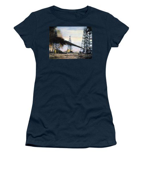 Women's T-Shirt featuring the photograph Spindletop Oil Pool, C1906 by Granger