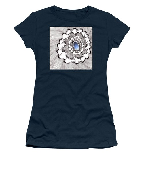 Women's T-Shirt (Athletic Fit) featuring the drawing Spinning Gemstone Flower by Jan Steinle