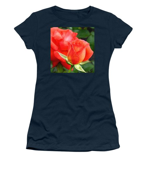 Women's T-Shirt (Athletic Fit) featuring the photograph Splendid Tropicana Roses by Will Borden