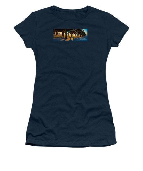 Springmaid Pier At Sunrise Women's T-Shirt (Junior Cut) by David Smith
