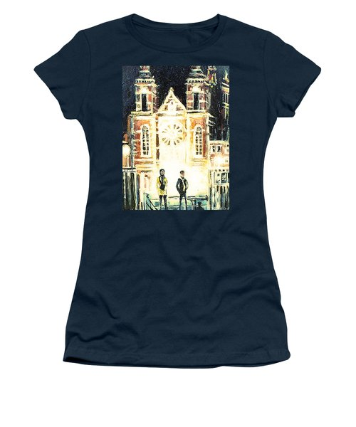 Women's T-Shirt (Junior Cut) featuring the drawing St Nicolaaskerk Church by Linda Shackelford